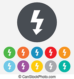 Photo flash sign icon. Lightning symbol. Round colourful 11...