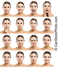 Different moods - Multiple portraits of a beautiful latin...