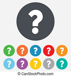 Question mark sign icon. Help symbol. FAQ sign. Round...