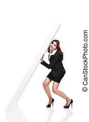 Holding a wall - Beautiful hispanic business woman holding a...