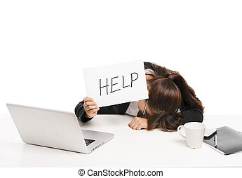 Business woman asking for help - Stressed business woman in...
