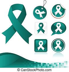 Teal Awareness Ribbons Kit - Set of teal awareness ribbons
