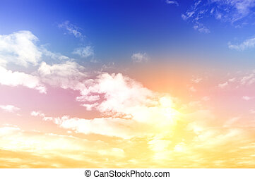 Colorful sky. Natural summer landscape