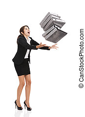 Stumble while carrying folders - Beautiful business woman...