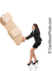 Stumbling with a pile of card boxes - Business woman...