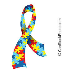 Autism Awareness Ribbon - A vector illustration of an Autism...