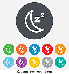 Sleep sign icon Moon with zzz button Standby Round colourful...