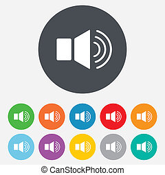 Speaker volume sign icon. Sound symbol. Round colourful 11...