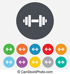 Dumbbell sign icon. Fitness symbol. Round colourful 11...