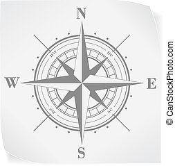 Compass rose over white paper sticker isolated on white....