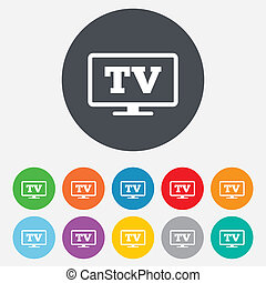 Widescreen TV sign icon Television set symbol Round...