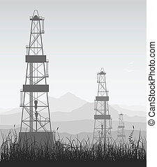 Landscape whith oil rigs over mountain range. Detailed vector illustration.