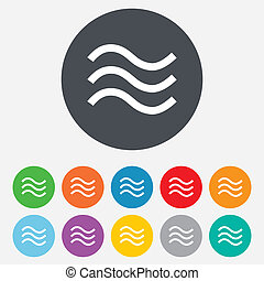 Water waves sign icon Flood symbol Round colourful 11...
