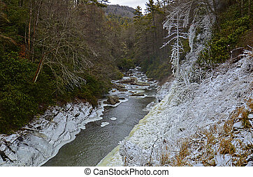 River Gorge in the Winter - The Cullasaja River in North...