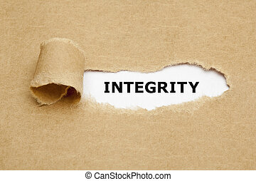 Integrity Torn Paper Concept - The word Integrity appearing...