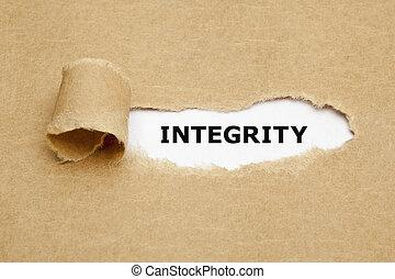 integridad, rasgado, papel, concepto