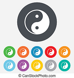 Ying yang sign icon Harmony and balance symbol Round...