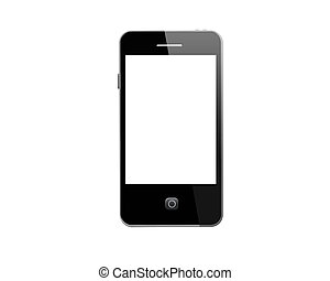 Modern mobile phone on the white background