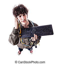 What - a casual guy with tangled cables and a keyboard...