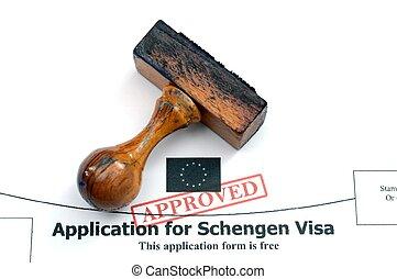 aplicação, Schengen, visto