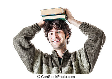 Happy student - an handsome student with some books isolated...