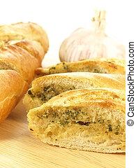 Garlic bread - Closeup of delicious baguette with garlic