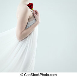 beautiful woman holding red rose - beautiful woman with a...