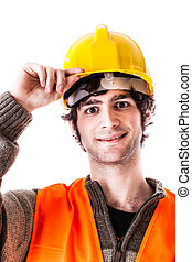 Young worker - an handsome architect or engineer or foreman...