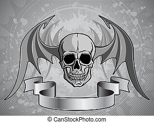 Human Skull with wings