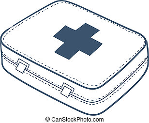 First aid kit isolated on white. - Sketch vector element for...