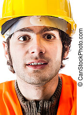 Manual worker - close up portrait of an engineer or a...