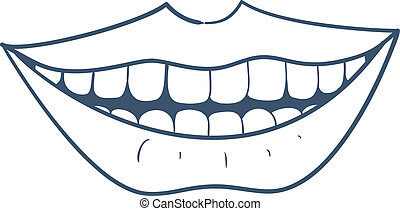 Smiling mouth. - Sketch vector element for medical or health...