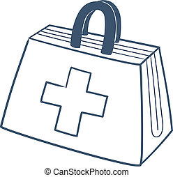 Doctors first aid kit isolated on white - Sketch vector...