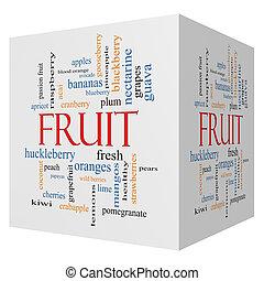 fruta, 3D, cubo, palavra, nuvem, conceito