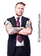 Tattoo Businessman 6 - Businessman in a suit with no sleeves...