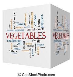 Vegetables 3D cube Word Cloud Concept
