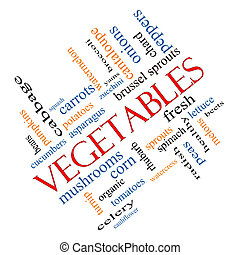 Vegetables Word Cloud Concept Angled - Vegetables Word Cloud...