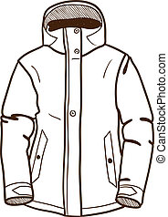 Winter sport jacket isolated on white. Sketch vector...