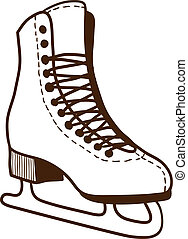 Ice skates isolated on white. Sketch vector illustration
