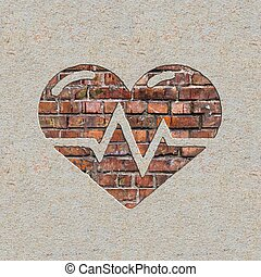Heart with Cardiogram Line on the Wall - Heart with...