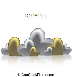 Hearts on a shiny surface Valentines Day card in vector...