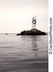 Duck Condo on Raritan Bay - ducks perched on rock pile...