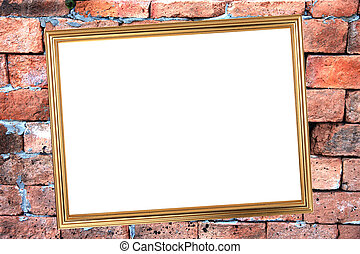 Gold frame on Brick Background of stone.