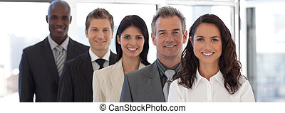 Business woman leading a business team - Business woman...