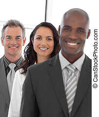 Multi-ethnic Business group looking at camera - Multi-ethnic...