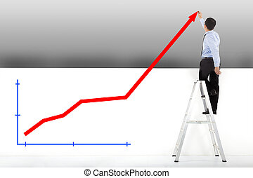 businessman standing on ladder drawing diagrams