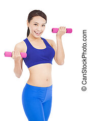 Happy fitness woman lifting dumbbells smiling cheerful,