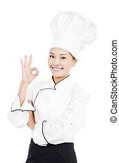Chef, panadero, o, cocinero, actuación, aprobar,...