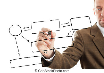 Business plan - isolated businessman writing diagram, focus...