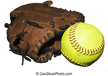 Catcher\'s Glove and Softball - Catcher\'s glove with loose...